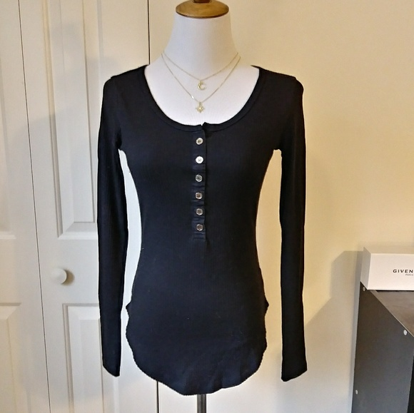 a1701ce8f1db ICON Tops | Chic Midnight Black Half Button Front Ribbed Tee | Poshmark